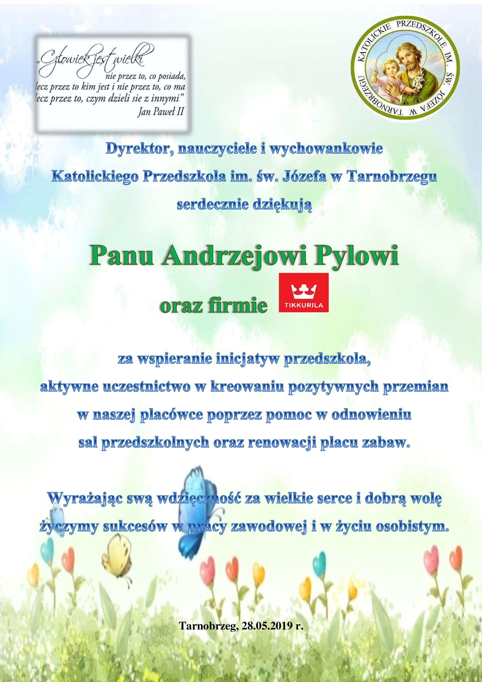 podziękowanie Andrzej Pyl Tikkurila